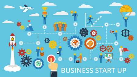 career plan: Business start up. Vector scheme with humans, icons and gears.