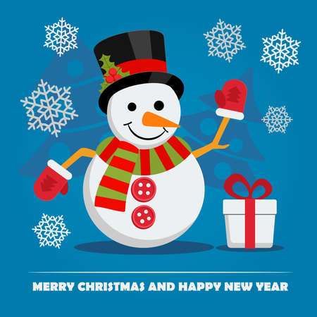 hi hat: Snowman in hat near gift box with ribbon and text below on Christmas Eve. Xmas and New Year greeting card template with falling snowflakes. Vector.