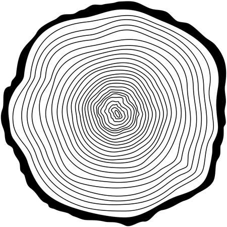 Tree rings. Saw cut tree trunk vector. Stock Illustratie