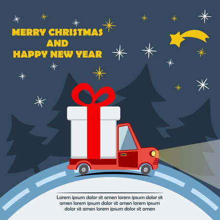 Christmas and New Year greeting card with gift delivery van goes on winter road in Xmas eve. Template vector concept. Vettoriali