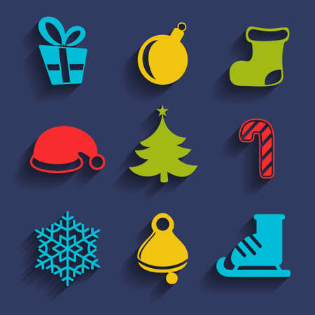 9 ball: Set of 9 vector Christmas and New Year silhouette icons with shadows. Symbols of Xmas tree, ball toy, sock, Santa Claus hat, gift box with ribbon, candy cane, bell, snowflake and ice skate