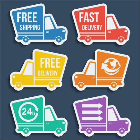 24h: Free delivery, fast delivery, free shipping, around the world, around the clock colorful icons set with blend shadows Illustration