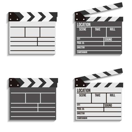 clapboard: Set of 4 cinema clapboard icons