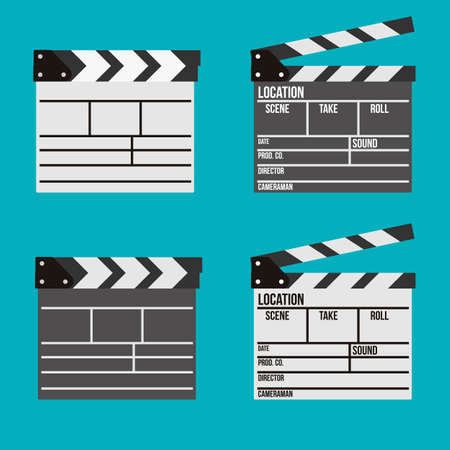 clapper board: Set of movies clapper board icons Illustration