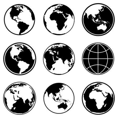 Set of earth planet globe icons