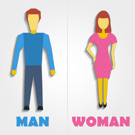 man and women wc sign: Male and Female Restroom Symbol Icon with blend shadows Illustration
