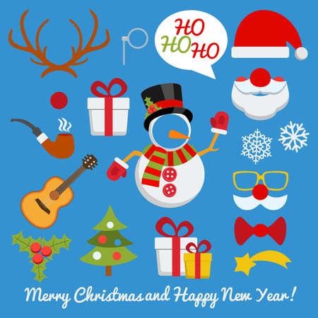 クリスマス写真ブースとサンタ クロースと雪だるま鹿などのセットを予約スクラップ  イラスト・ベクター素材