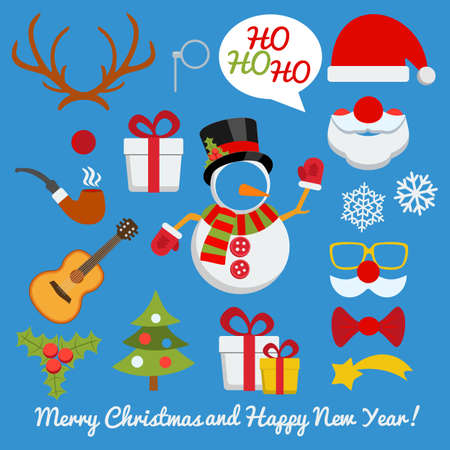 Xmas photo booth and scrap booking set with Santa Claus snowman deer etc Иллюстрация