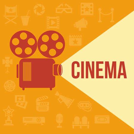 cinema background: Cinema retro projector highlights word cinema. Template vector concept.
