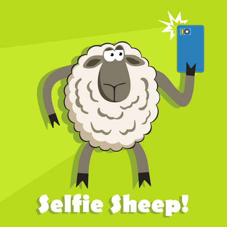goofy: Selfie goofy sheep holding smartphone and taking self portrait with bright flash