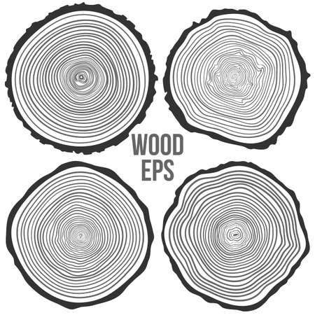 Conjunto de cuatro anillos de los árboles de fondo y corte de sierra tronco del árbol Ilustración de vector