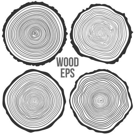 Ensemble de quatre anneaux d'arbres arrière-plan et de scie un tronc d'arbre Vecteurs