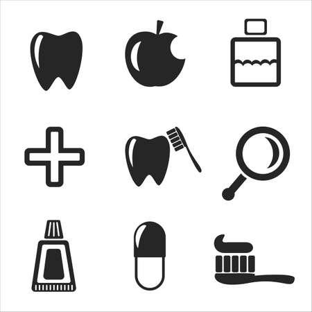 Set of vector dental web and mobile icons. Symbols of medical cross, rinse teeth, tooth, apple, pill Vector