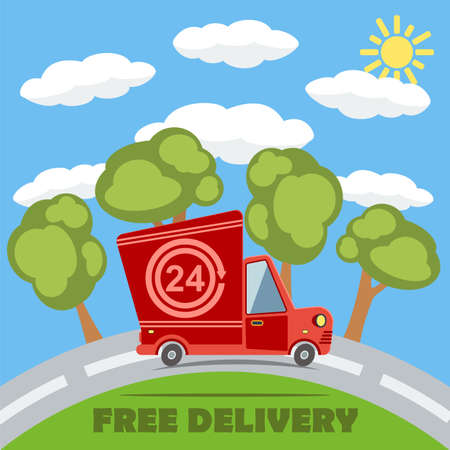 rushing: Free delivery van truck with 24 hour vinyl on the road with trees, clouds and sun Illustration