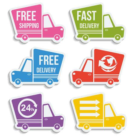Gratis levering, snelle levering, gratis verzending, over de hele wereld, de klok rond kleurrijke pictogrammen instellen met blend schaduwen op een witte achtergrond
