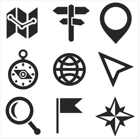Geo web and mobile icons set in flat design. Vector symbols of  globe, flag, map, cursor, marker, signpost, loupe, compass Vector