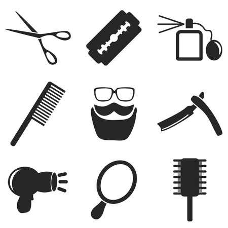 이발사 웹 및 모바일 아이콘 모음. 면도기, 면도기, 블레이드, 가위, 콧수염의 벡터 기호