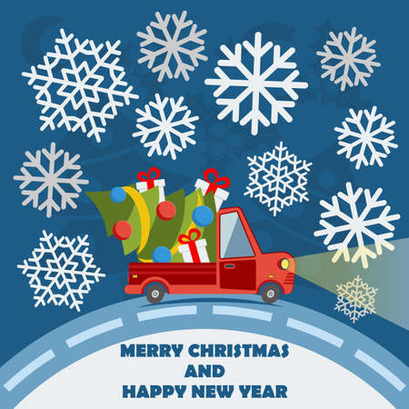Christmas and New Year greeting card with delivery van carry a Christmas tree and gifts goes on winter road in Xmas eve. Template vector concept. Illustration