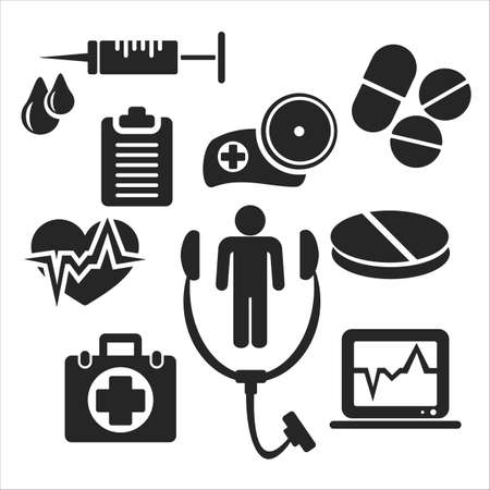 doctor tablet: Medical and healthcare web and mobile logo icons isolated on white back. Vector symbols of syringe, medicine chest, stethoscope, cap, doctor, pill, tablet