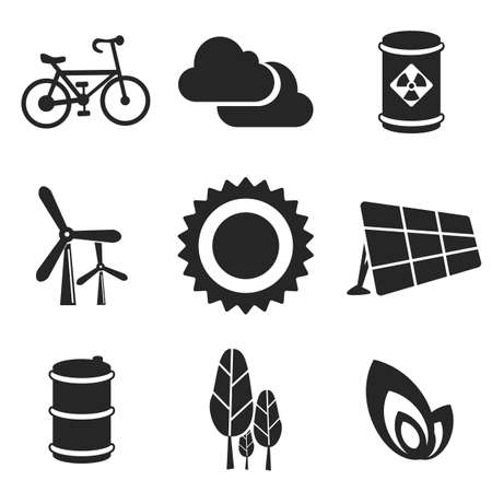 solar cell: Ecology web and mobile icons set. Vector symbols of sun, cloud, trees, bicycle, barrel, leaf, solar cell, wind turbine Illustration