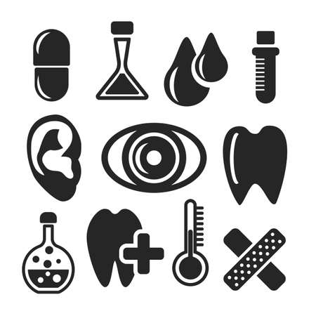 ear drop: Medical and healthcare web and mobile icons isolated on white back. Symbols of medicine, pill, dental, flask, test-tube, blood drop, patch, thermometer, eye, ear