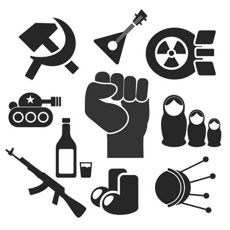 Russian web and mobile logo icons collection isolated on white back. Vector symbols of fist, felt boots, balalaika, satellite, sputnik, tank, hammer and sickle, nuke, vodka, matrioshka, ak Vector