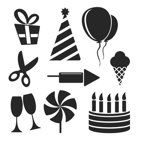 molinete: Fiesta web y m�vil iconos aislados en blanco. S�mbolos de regalo, tijeras, copa de vino, tap�n de fiesta, torta, velas, helados, globos, perinola, fuegos artificiales