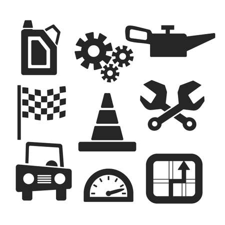 gearbox: Cars web and mobile icons isolated on white.  symbols of gearbox, gps, speedometer, cars, battery, handle.