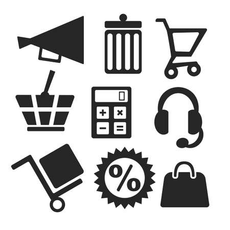 dolly: Online shopping web and mobile icons isolated on white. symbols of basket, cart, bin, speaker, calculator, headset, dolly, discount, handbag Illustration