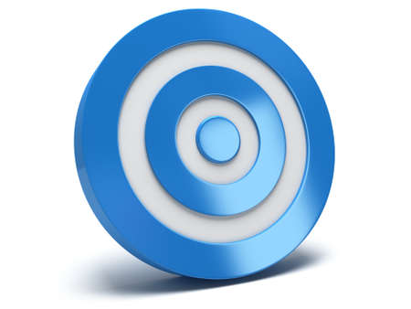 sharpshooter: Illustration of 3d blue darts target isolated on white back Stock Photo