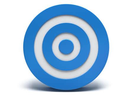 marksmanship: Illustration of 3d blue darts target isolated on white back Stock Photo