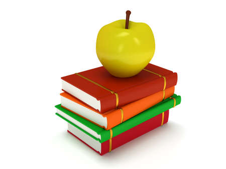 yellow apple: Multicolored book tower with yellow apple on the top, isolated on white background. 3d render of studing illustration. Back to school.