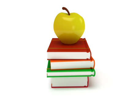yellow apple: Multicolored book tower with yellow apple on the top, isolated on white background. 3d render