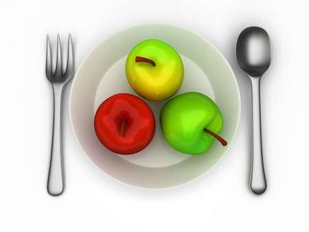 sepal: Illustration of three realistic apples on plate Stock Photo