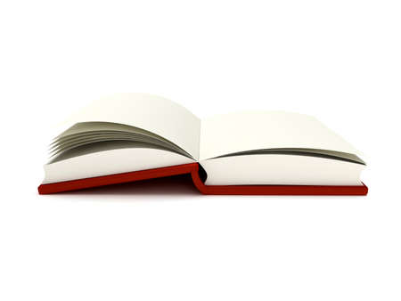 hard cover: 3D Illustration of an Open Book on white