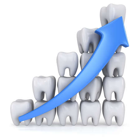 health care analytics: 3d teeth bar graph with blue arrow isolated on white background Stock Photo