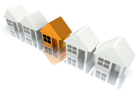 row houses: Row of white blank houses with gold one. 3d render Stock Photo