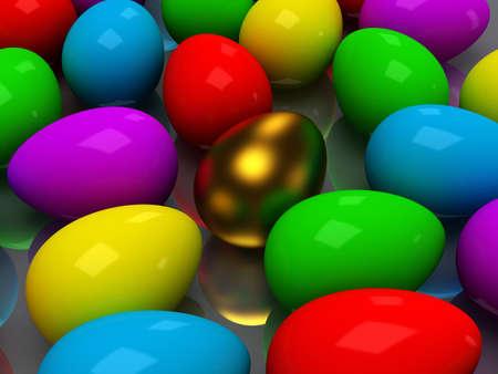 Unique golden egg among colored eggs photo