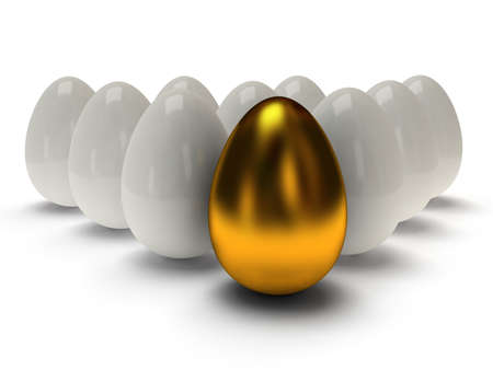 Shiny golden and white eggs on white background Imagens