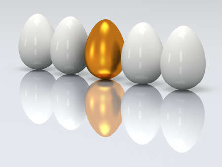 alone in crowd: Golden egg in a row of the white eggs. 3D render Stock Photo