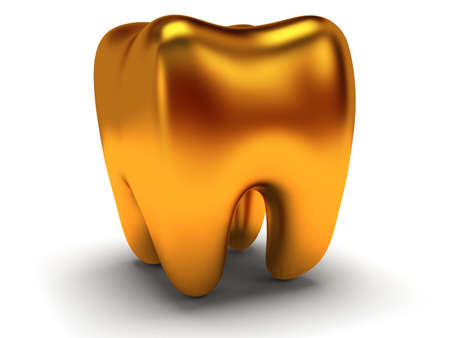 Gold tooth isolated on white background. 3D render photo