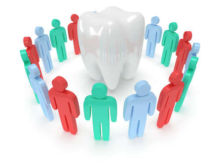 praise hands: Colored people in circle around tooth chain within. 3D render Stock Photo