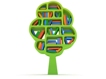 guidebook: Tree 3d Bookshelf on white background Stock Photo