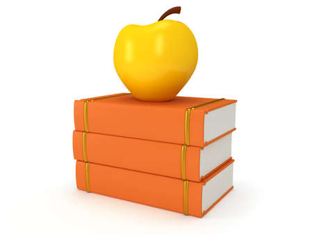 yellow apple: Orange book tower with yellow apple on the top, isolated on white background. 3d render of studing illustration. Back to school. Stock Photo