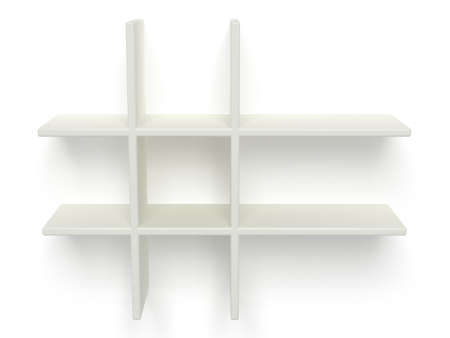 pegboard: illustration of two empty shelves Stock Photo