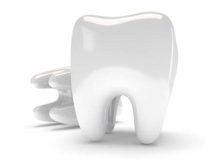 Teeth isolated on white background. 3D render. Dental, medicine, health concept. photo