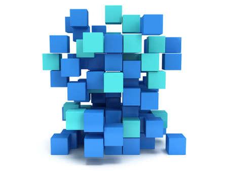 Cubes block. Assembling concept. Teamwork Business. 3D render icon Stock Photo