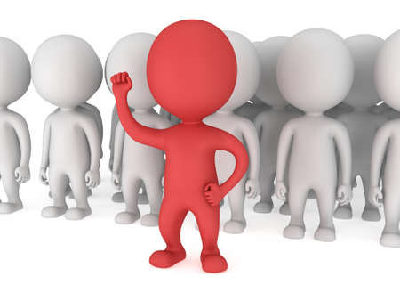 Brave red leader with raised fist stand before a crowd. Isolated on white 3d render. Leader, out of crowd concept. Banco de Imagens - 37050549