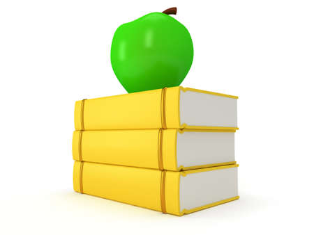 studing: Yellow book tower with green apple on the top, isolated on white background. 3d render of studing illustration. Back to school. Stock Photo