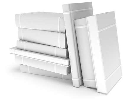 Blank books cover over white background. 3D render. Studing illustration. Back to school. Imagens
